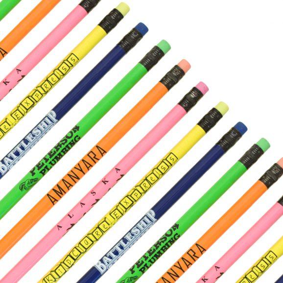 Budget Neon Pencils w/ Matching Eraser-0
